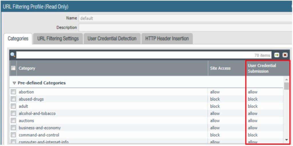 URL Filtering Profile